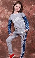 """Костюм детский комбинированный - серый трикотаж с джинсом в """"горошек"""""""