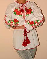 """Женская вышиванка """"Розы"""" длинный рукав"""