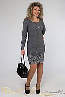 Платье классического приталенного силуэта с длинными рукавами и манжетами жаккрад большого размера 48-54