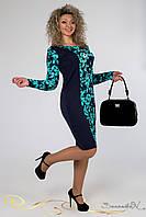 Красивое нарядное трикотажное платье с цветочным принтом большого размера 48-54