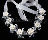 Веночек-диадема с бусинами и цветами, белый (свадебная диадема с лентой)