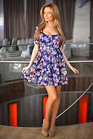 Приталенное женское платье с короткой пышной юбкой с цветочным принтом рукав до локтя дайвинг