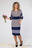Модное трикотажное платье с ажурными вставками с широким рукавом большого размера 46-54