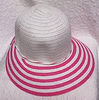 Пляжная женская шляпа плетение полосатая