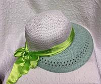Пляжная женская шляпа плетение с лентой
