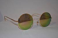 Солнцезащитные очки круглые Хамелеон розово-зеленый золотая оправа