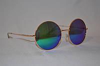 Солнцезащитные очки круглые Хамелеон сине-зеленый золотая оправа
