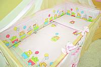 """Бортики и набор постели в детскую кроватку -""""Паровозик розовый"""""""