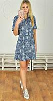 Принтованное летнее женское платье-рубашка под пояс рукав короткий тонкий джинс