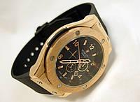 Мужские часы HUBLOT - GENEVE каучуковый черный ремешок, цвет золото, черный циферблат