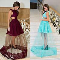 Женское шикарное гипюровое платье в пол со вставками сетки (2 цвета)