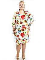 "Коттоновый костюм ""Цветастый Батал"": сарафан+пиджак"