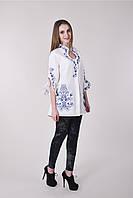 Женская вышитая блуза-туника из льна оригинального кроя