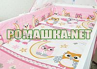 Комплект детского постельного белья в кроватку 3 эл. СОВА наволочка, простынь, пододеяльник 2964 Розовый