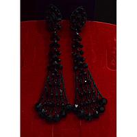 Серьги длинные, в восточном стиле с камнями, черный металл, английская застежка 001496