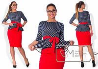 Костюм женский юбка + блуза в горох трикотаж Размеры: 48, 50, 52, 54