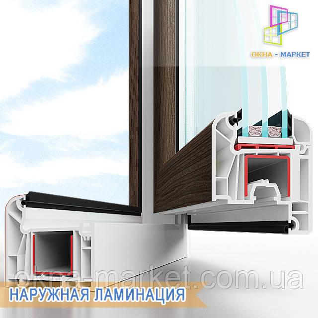 Цветные окна снаружи (наружная ламинация), фирма Окна Маркет