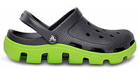 Мужские кроксы Crocs серые с зеленым