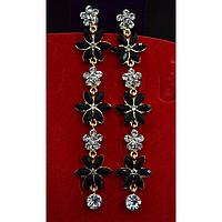 """Серьги длинные, в восточном стиле с камнями """"Черные цветы"""" 001501"""