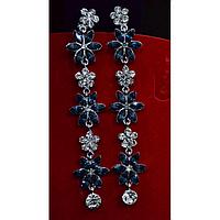 """Серьги длинные, в восточном стиле с камнями """"Синие цветы"""" 001502"""