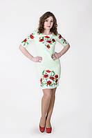 Модное льняное платье с вышитыми красными маками гладью