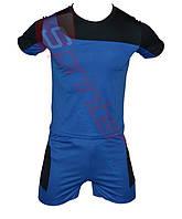 Форма футбольная детская. (от 3,5 до 15 лет). Цвет: синий с черной вставкой.