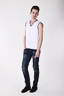 Летняя футболка вышиванка мужская из хлопка  белом цвете