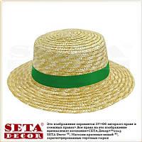 """Летняя женская шляпа """"Канотье"""" соломенная с яркой зеленой лентой"""