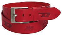 Мужской кожаный ремень под джинсы Skipper 3672 Diesel красный  ДхШ: 133х4,5 см.