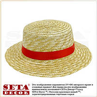 """Летняя женская шляпа """"Канотье"""" соломенная с яркой красной лентой"""