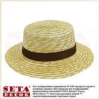 """Летняя шляпа """"Канотье"""" соломенная с коричневой лентой"""