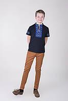 Качественная детская футболка вышиванка с синим орнаментом для мальчика