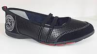 Балетки кожаные спорт черного цвета для девочек. ТМ B&G. 31 34 36