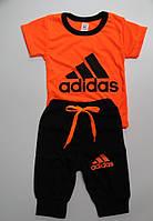 Детский летний костюм футболка+бриджи  ''Adidas'' оранжевый-неон