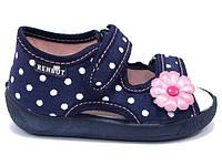 Детские босоножки для девочки синие горошек размер 19-27 Renbut  Ортопедическая вкладка.