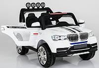 Детский двухместный электромобиль BMW TY8088B 4 мотора, мягкое сиденье, надувные колеса, плавный старт, пульт