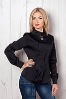 Оригинальная черная блуза из атласа с украшением на воротнике