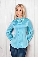 Легкая женская блуза с длинным рукавом из атласа