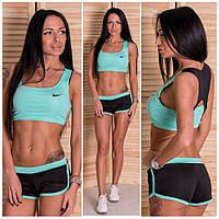 Женский стильный костюм-двойка для фитнесса: топ и шорты (2 цвета)