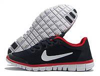 Кроссовки женские Nike Free Run 3.0 темно-синие с красным, белый значок (найк фри ран)