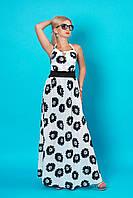 Летний женский сарафан 927 (молочный с черными цветами)