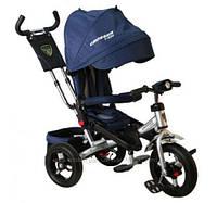 Детский трехколесный велосипед Azimut Crosser T 400 (надувные колеса с фарой), синий