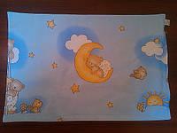 Наволочка детская 40*60 на молнии голубого цвета  для мальчика.