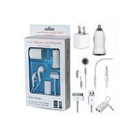 5-в-1 зарядное устройство, автомобильное, наушники, аудио разветвитель, USB - набор для iPhone 4 , iPad