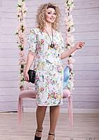 Нежное Белое Платье из Жаккарда с Цветочным Принтом Большого Размера