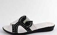 Шлепанцы женские белые с черным бантик Б597