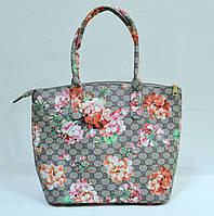 Сумка женская стильная серая Flowers E 8706