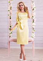 Роскошное Атласное Платье с Поясом Желтое M-2XL