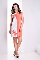 Любимое Повседневное Платье С Аппликацией Белый +Коралл  р. XS-ХХL