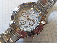 Часы Rolex Daytona Silver 7881 (113883) женские серебристые с белым циферблатом на браслете календарь
